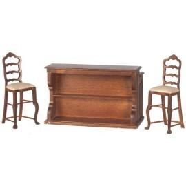 Barový stůl a 2 židle, ořech