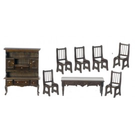 Jídelna nábytek, set 8ks, tmavý ořech