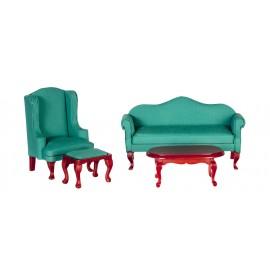 Viktoriánská sedací souprava, 4ks, zelená, mahagon