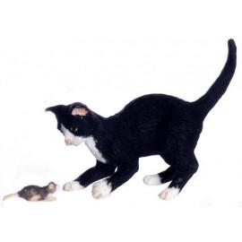 Černo-bílá kočka s myší