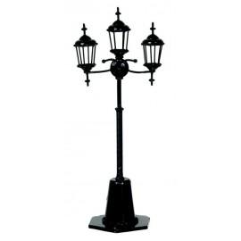 Pouliční tříramenná lampa, černá, nefunkční