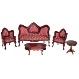Viktoriánský set nábytku 5ks, mahagon, červená