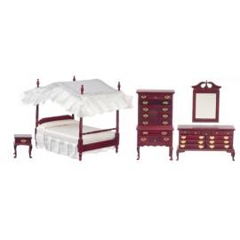 Ložnice nábytek, set 5ks, mahagon