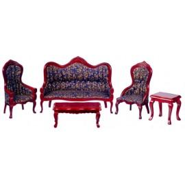 Viktoriánský nábytek, set 5ks, mahagon