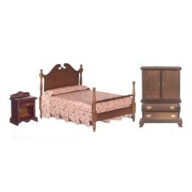 Ložnice nábytek, set 3ks, ořech