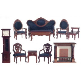 Viktroriánský nábytek obývák, set 10ks, mahagon, modrá