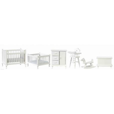 Nábytek do dětského pokoje, bílá, set 6 ks