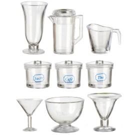 Skleněné nádoby, set 9 ks, materiál plast