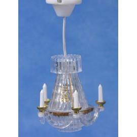 Křišťálový lustr s imitací svíček, funkční