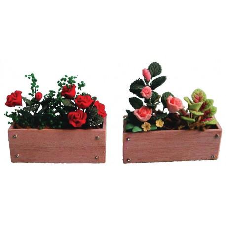 Truhlík s větinami, různé růže