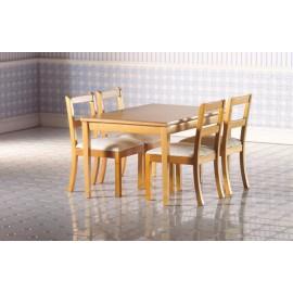 Stůl a 4 židle s bílým čalouněním