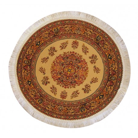 Kruhový krémový koberec