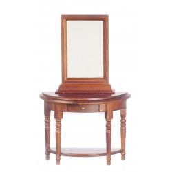 Půlkulatý stolek se zrcadlem