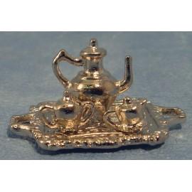 Stříbrný čajový servis (konvička 2 šálka a tácek)