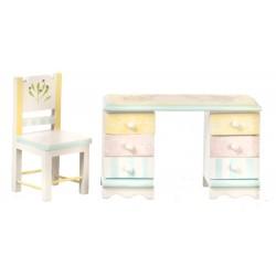 Pracovní stůl s židlí - květinový motiv