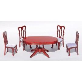 Oválný stůl a 4 židle