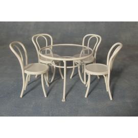 Kulatý stůl se sklem a 4 židle TON