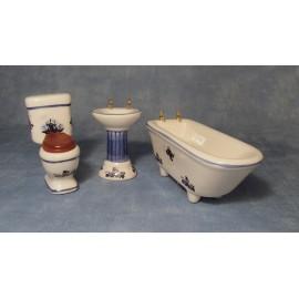 Modrob-bílá koupelnová sestava, 3 ks