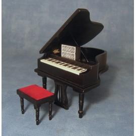 Piano a stolička, černé