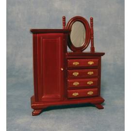 Skříň se zrcadlem a šuplíky, mahagon